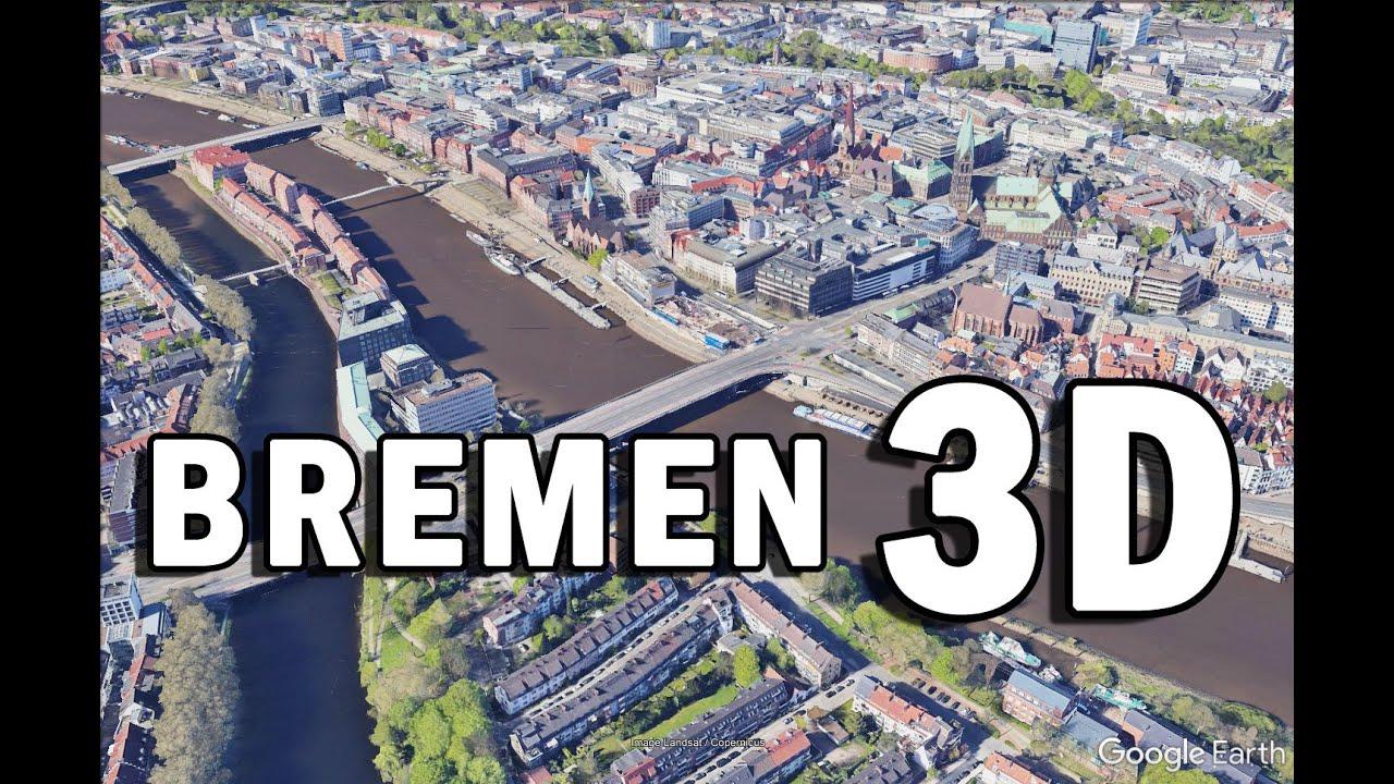 Brême (Allemagne): Itinéraire de visite touristique et culturelle par vue aérienne de la ville en 3D